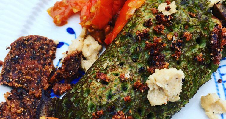 Spinatpandekager med grøntsagsfyld og Vegansk Mozarella